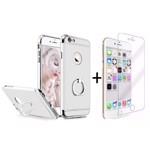 Pachet husa Elegance Luxury 3in1 Ring Silver pentru Apple iPhone 6 \/ Apple iPhone 6S cu folie de sticla gratis