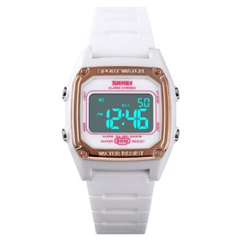 Ceas de copii SKMEI 1614 digital sport alarmadatailuminare waterproof 5ATM alb