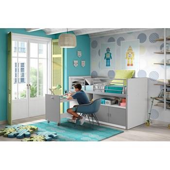 Pat etajat din pal si metal cu birou incorporat si 2 usi, pentru copii Bonny Alb / Gri, 200 x 90 cm