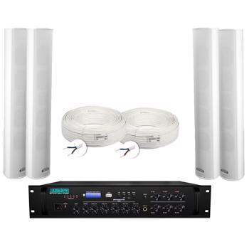 Kit sistem de sonorizare exterior cu 6 coloane 30W + mixer amplificator 350W