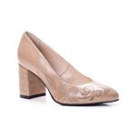 Pantofi dama piele naturala cu toc bej Alapini