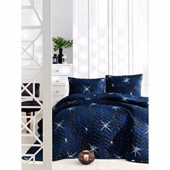 Set cuvertura, EnLora Home, bumbac/poliester, 200 x 220 cm, 162ELR9435, Albastru