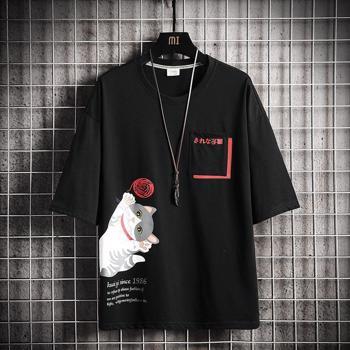 Tricou modern de vara pentru barbati, cu imprimeu de pisica ?i decolteu rotund, din bumbac