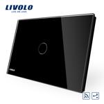 Intrerupator cap scara / cap cruce wireless cu touch Livolo din sticla - standard italian Negru vl-c301sr-82