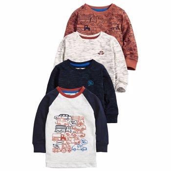 Set de bluze cu imprimeu cu masini - 4 piese