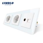 Priza tripla Livolo cu rama din sticla 2 prize simple+TV/internet verde, VL-C7C3EU/VC-18
