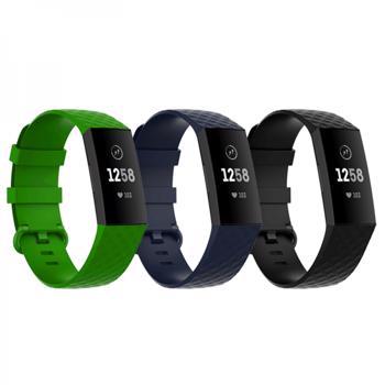 Set 3 curele sport pentru bratara fitness Fitbit Charge 4 / 3 / 3E din silicon marime L negru albastru verde