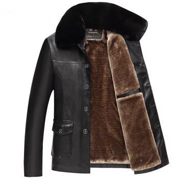 Jacheta groasa de iarna pentru barbati, din piele ecologica, model calduros cu captu?eala de plu?