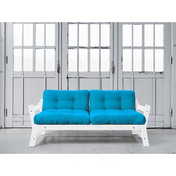 Canapea Extensibila 2 locuri, stofa si cadru lemn de pin, Step White, l178xA75xH57 cm