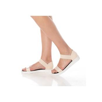 Sandale cu talpa joasa si bareta din elastic, piele sintetica