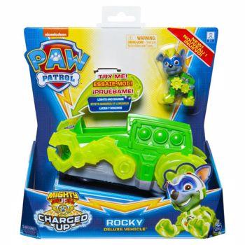 Figurina Patrula Catelusilor - Rocky cu vehicul cu sunete si lumini