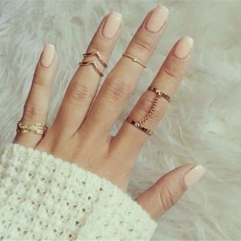 Set de 6 inele in stil punk, culoarea aurului, pentru articulatiile degetelor, modele diferite, cu lantisor, frunza si altele