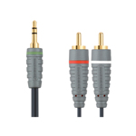 Cablu audio stereo Bandridge, jack 3.5 mm tata, 2 x RCA tata, 1 m, Gri/Negru
