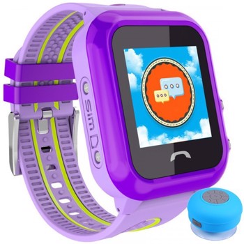 Ceas GPS Copii, iUni Kid27, Touchscreen 1.22 inch, BT, Telefon incorporat, Buton SOS, Mov + Boxa Cadou