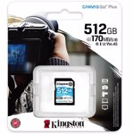 Card de memorie SD Kingston Canvas GO Plus, 512GB, Clasa 10, UHS-I, Adaptor inclus
