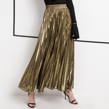 Fusta lunga, moderna, culoare metalizata, plisata, slim, cu talie elastica, fusta maxi