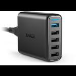 Incarcator retea GSM Anker PowerPort+ 5, 12A, 51.5W, 5x USB, Black, tehnologia Quick Charge 3.0 si PowerIQ