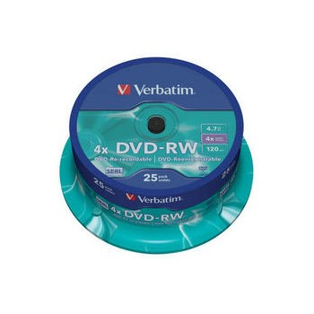 Mediu stocare Verbatim DVD-RW 4x Matt Silver Spindle 25 bucati