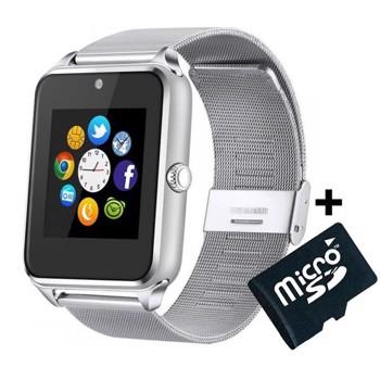 Ceas Smartwatch cu Telefon iUni GT08s Plus, Curea Metalica, Touchscreen, Camera, Silver + Card MicroSD 4GB