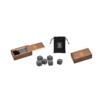 Set cadou in cutie de lemn, cu 6 cuburi din bazalt pentru whisky