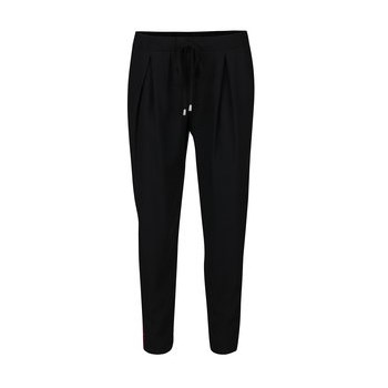 Pantaloni negri cu detalii rosu Bordeux si pliuri Miss Selfridge