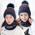 Set de iarna pentru adulti, amestec de plu? ?i acril, model calduros din tricot, rezistent la vant, set cu caciula ?i fular