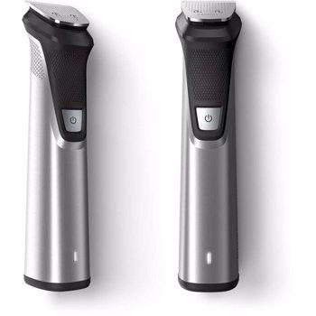 Aparat de tuns barba si parul 18 in 1 Philips Multigroom MG7770/15, Lame cu ascutire, Tehnologie DualCut, acumulator, 11 piepteni par fata, corp si cap, rezistent la dus, carcasa pentru depozitare, Argintiu
