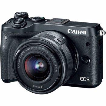 Aparat foto Mirrorless Canon EOS M6, 24 MP, Negru + Obiectiv EF-M 15-45mm IS STM