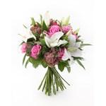 Buchet trandafiri roz, crini albi si alstroemeria