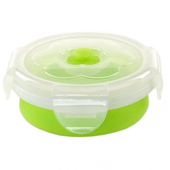 Recipient pliabil din silicon pentru hrana Nuvita 4666, 230 ml, Verde