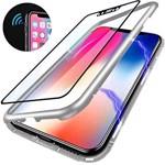 Husa Apple iPhone 7 PLUS Magnetica 360 grade SILVER Elegance Luxury cu spate de sticla securizata premium 01hmip7par
