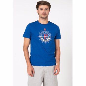 Polo Ralph Lauren, Tricou din bumbac cu decolteu la baza gatului, Albastru royal, L
