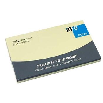 Notes autoadeziv, 125 x 75mm, 100 file/set, galben pastel, INFO NOTES