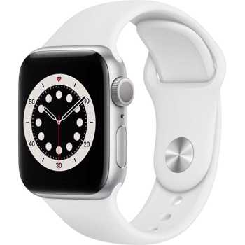Apple Watch Series 6, 40mm Silver Aluminium Case, White Sport Band