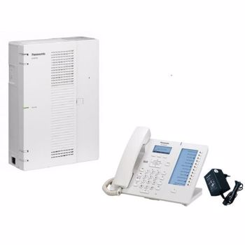 Centrala telefonica Panasonic Hybrid IP KX-HTS32CE 4/16 Telefon SIP KX-HDV130 Panasonic si alimentator KX-A423 pack.4-HTS