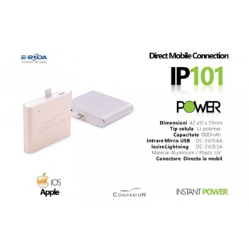 Baterie externa E-Boda mini powerbank pentru iphone, disponibila in 3 culori, la doar 29 RON in loc de 79 RON