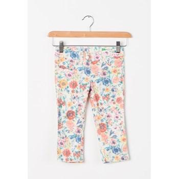 Pantaloni skinny alb fildes cu imprimeu floral