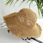Palarie de soare casual pentru femei, lucrata ?i cro?etata manual, model cu perforatii, pentru plaja