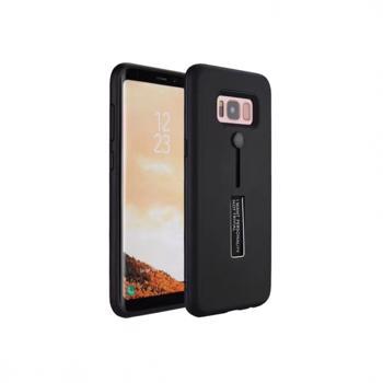 Husa hibrid cu picior stand metalic si inel de sustinere din silicon pentru Samsung Galaxy S8 negru
