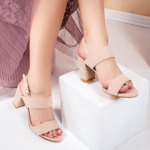 Sandale cu toc dama bej Perilida