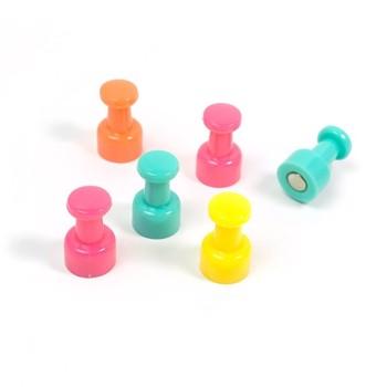 Magneti colorati Push Pin, 10x19 mm, clasa 3, forma pion, set 6 bucati