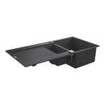 Chiuveta bucatarie GROHE K500 31646AP0, 1 1/2 cuve, picurator reversibil, compozit quartz, negru