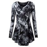 Bluza eleganta pentru femei, cu imprimeu, guler in V ?i maneca lunga