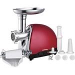 Masina de tocat Heinner MG1500TA-red, Accesoriu pentru rosii, Putere maxima: 1500W, Functie reverse,