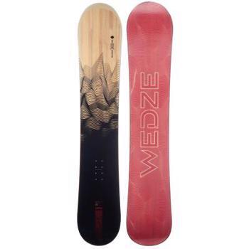 Snowboard pârtie & All Mountain SNB 100 Negru/ Roșu/ Imprimeu Lemn Bărbați WED'ZE
