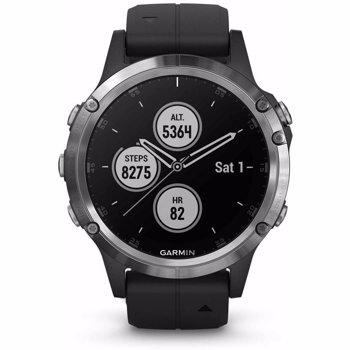 Ceas smartwatch Garmin Fenix 5 Plus, HR, GPS, Silver, Silicone Black