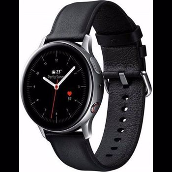 "Smartwatch Samsung Galaxy Watch Active 2 SM-R830, Procesor Dual-Core 1.15GHz, Super AMOLED 1.2"", 768MB RAM, 4GB Flash, Bluetooth, Wi-Fi, Carcasa Otel, Bratara Piele 40mm, Rezistent la apa si praf, Tizen (Argintiu/Negru)"