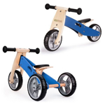 Tricicleta Ecotoys cu pedale 2 in 1 din lemn albastra