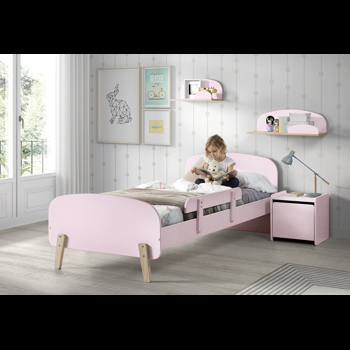 Set Mobila dormitor din lemn de pin si MDF, pentru copii 5 piese Kiddy Roz, 200 x 90 cm