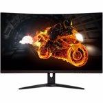 "Monitor curbat LED MVA AOC 31.5"",1 ms, 144 Hz, Freesync, Display Port, Negru/Rosu, C32G1"